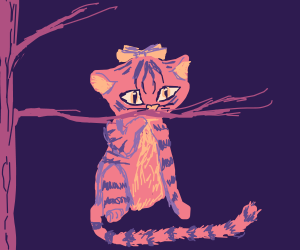 pinktiger with bow sniffing purple tree