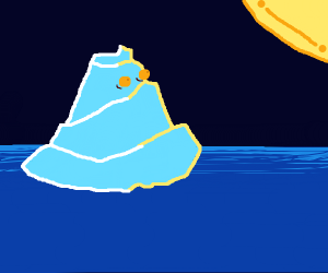 an iceberg looking at the sun at night