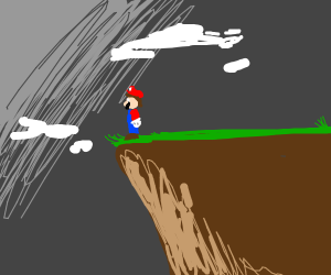 mario on the edge of a cliff