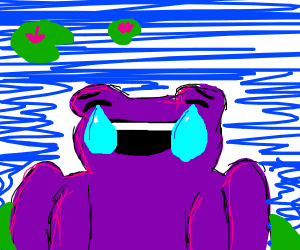 Purple frog w/ smiley face is crying