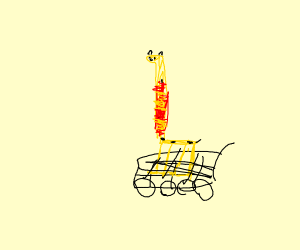 giraffe Cailou in a shopping cart
