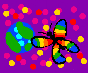 Gay butterfly goes to outer space.