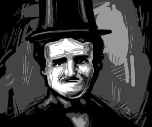 Edgar allen poe with a fur coat and a top hat