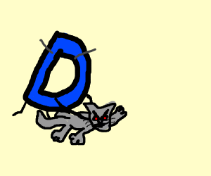 Drawception D struggling to hold down a cat