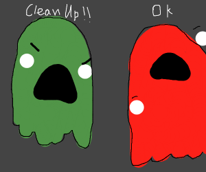 Pacman ghost tells other ghost to clean up