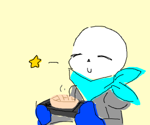 Underswap sans makes a pie