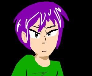 Anime man with purple hair