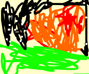 Red airplane crash lands (drawn with mouse)
