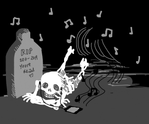 Person listening to music dead