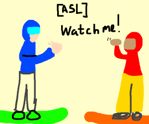 snowboarder doing sign language