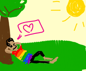 gay guy by a tree