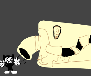 Baby Bendy leaving Bendy the Ink Machine
