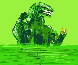Pikachu about to be eaten by Godzilla