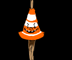 Traffic cone on stick is scary