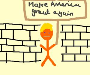 "Trump Holding Sign ""Make America great again"""