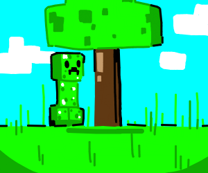 minecraft creeper stands under a tree