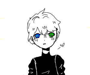 amine male with one green and one blue eye