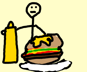 Burger with mustard