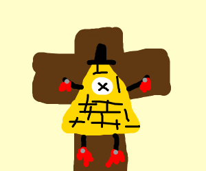 bill cipher on a cross