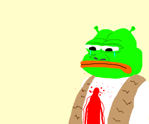 Shrek Pepe is bleeding out