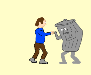 man fighting trash can