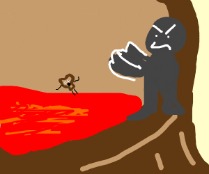 shadow creature pushes bread figure in lava