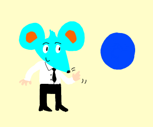 Blue Mouse man meets a darker shade of blue