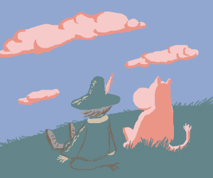 Snufkin and Moomin watching  clouds 2gether
