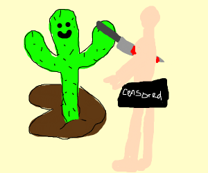 Living Cactus stabs naked man