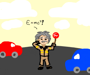 Albert Einstein directing traffic