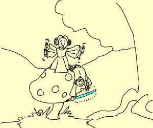 Luke and Leia on a mushroom