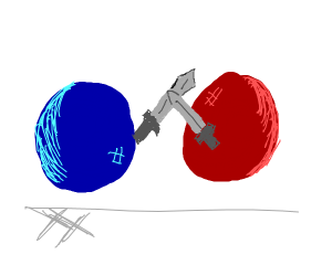 a red ball and a blue ball fight