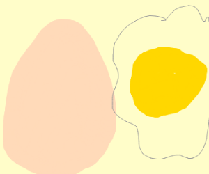 An egg but the egg white is transparent