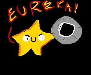 """star lifting a wheel and saying """"EUREKA"""""""