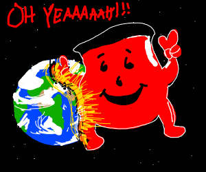 Kool-Aid man smashes into planet Earth