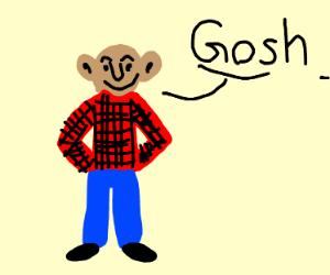 monkey/man hybrid saying oh my gosh