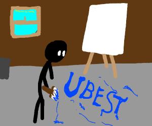 "artist paints ""u best"" on floor cuz why not"