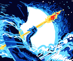 ice woman holding a fire sowrd in the ocean