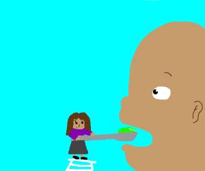 woman feeding a giant baby