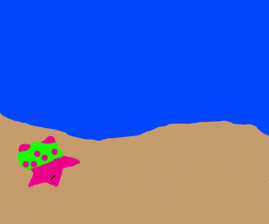 Patrick Star lying on a sandy beach