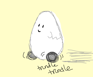 an egg with wheels