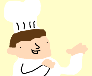chef holds up nothing