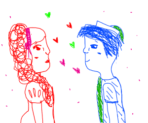Red woman and blue man fall in love