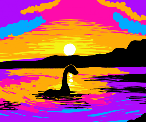 Loch ness swimming as the sun sets