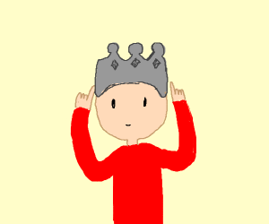 guy pointing at his grey crown