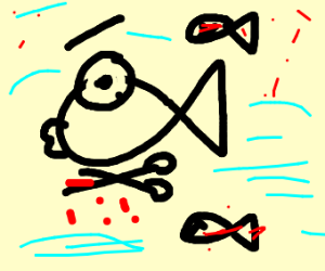 psychopath fish with blody sizzors