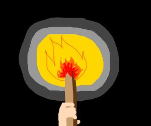 A wooden torch