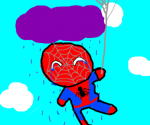 spiderman crying under the rain