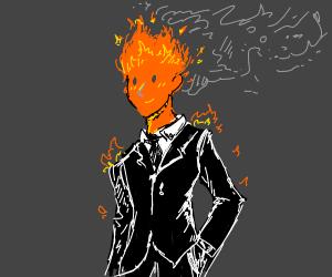 Fire wearing a tuxedo