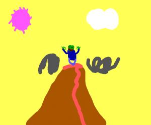 Pepe the frog meditating on volcano